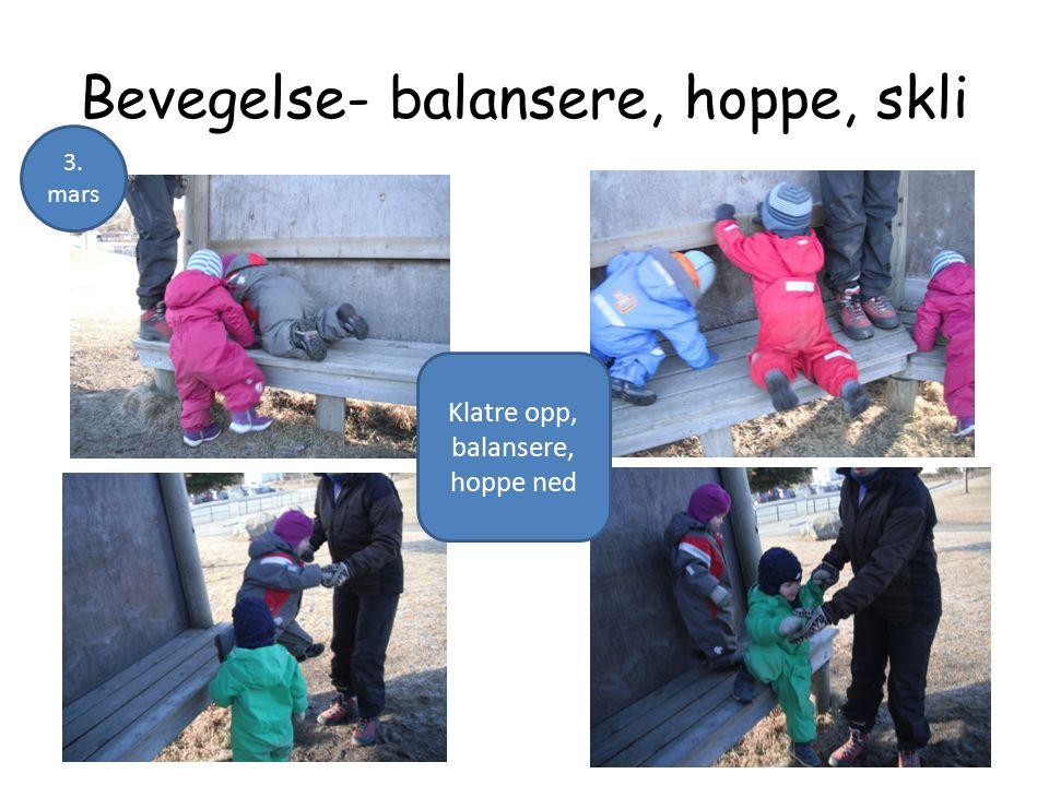 Bevegelse- balansere, hoppe, skli Klatre opp, balansere, hoppe ned 3. mars