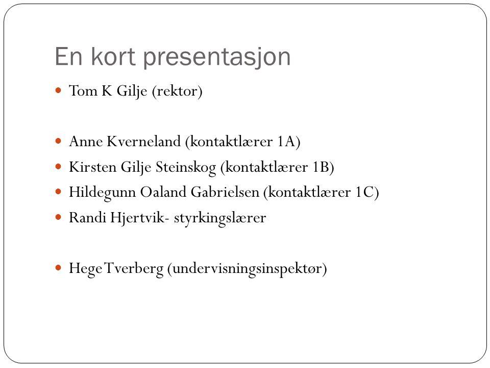 En kort presentasjon Tom K Gilje (rektor) Anne Kverneland (kontaktlærer 1A) Kirsten Gilje Steinskog (kontaktlærer 1B) Hildegunn Oaland Gabrielsen (kon