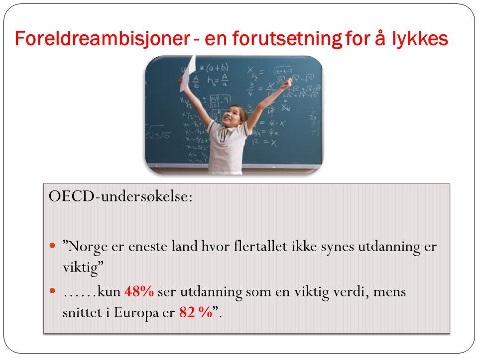 """Foreldreambisjoner - en forutsetning for å lykkes OECD-undersøkelse: """"Norge er eneste land hvor flertallet ikke synes utdanning er viktig"""" ……kun 48% s"""