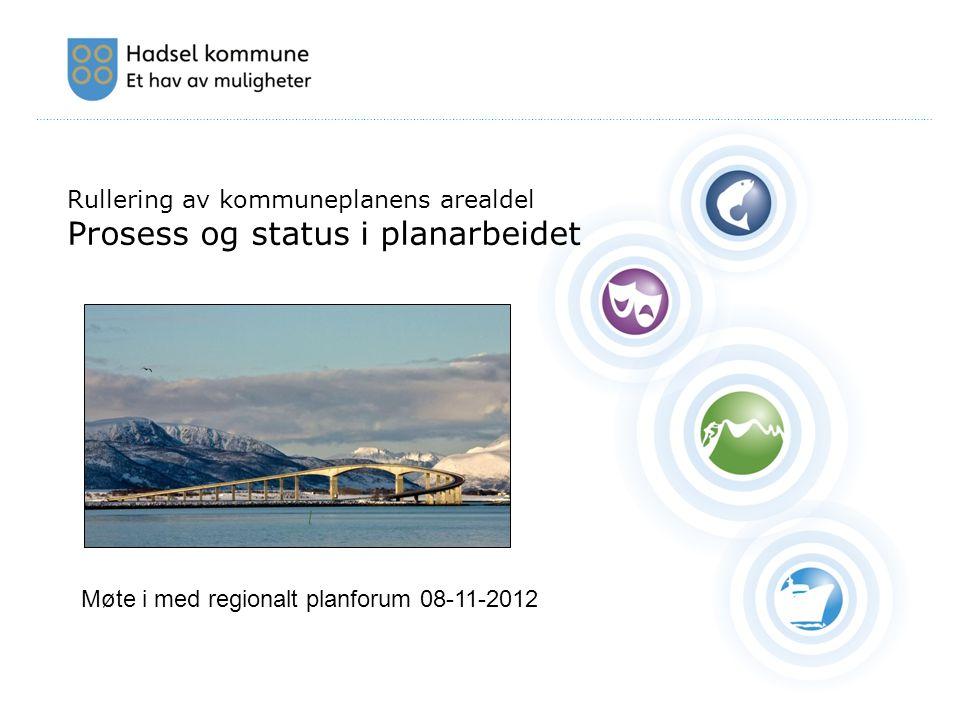 ………………………………………………………………………………………………………………………………………………………………………………………………………………………………………………… Rullering av kommuneplanens arealdel Prosess og status i planarbeidet Møte i med regionalt planforum 08-11-2012
