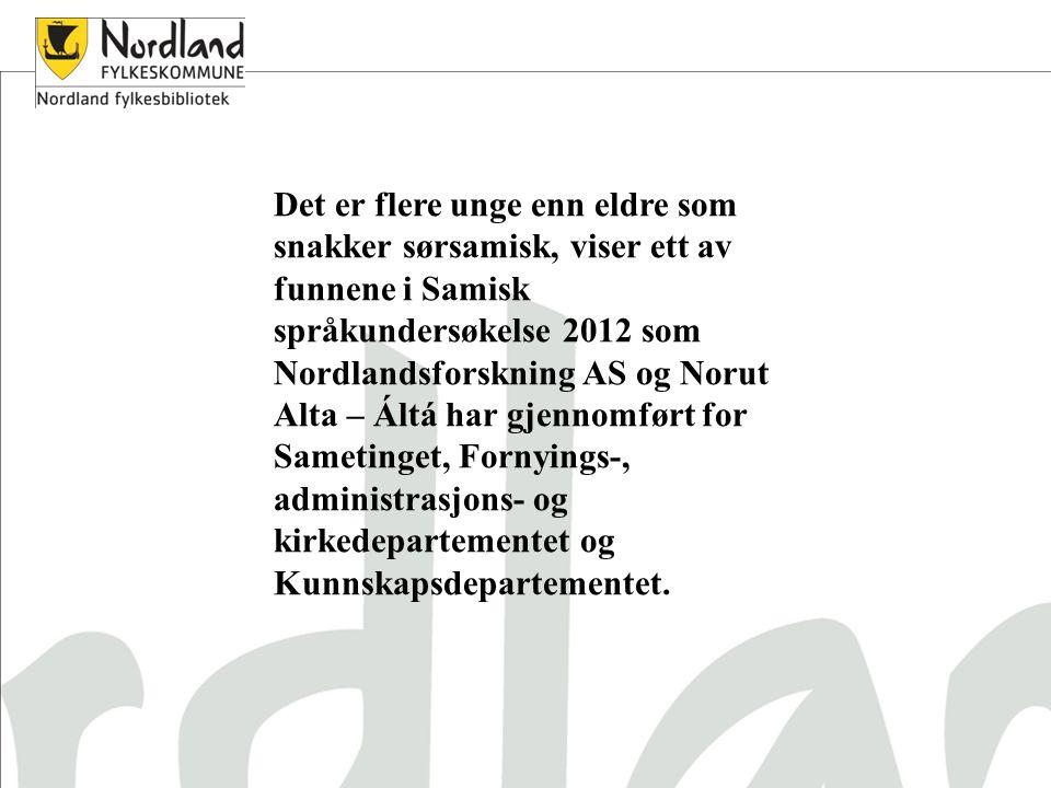 Det er flere unge enn eldre som snakker sørsamisk, viser ett av funnene i Samisk språkundersøkelse 2012 som Nordlandsforskning AS og Norut Alta – Áltá