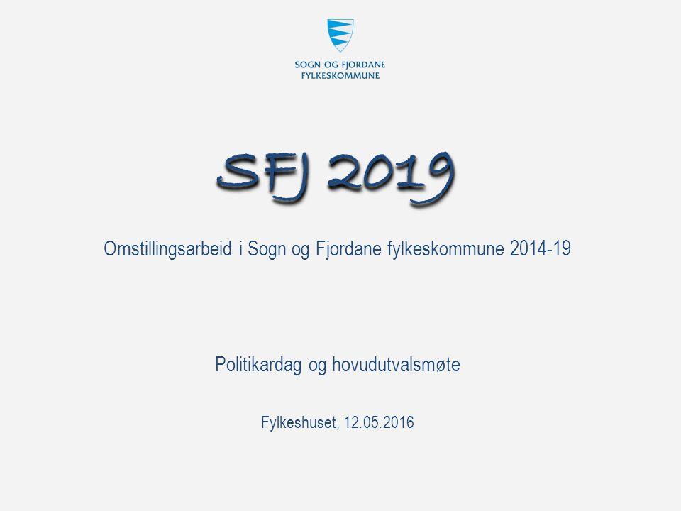 Omstillingsarbeid i Sogn og Fjordane fylkeskommune 2014-19 SFJ 2019 Fylkeshuset, 12.05.2016 Politikardag og hovudutvalsmøte