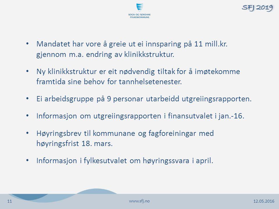 www.sfj.no 12.05.2016 SFJ 2019 11 Mandatet har vore å greie ut ei innsparing på 11 mill.kr. gjennom m.a. endring av klinikkstruktur. Ny klinikkstruktu
