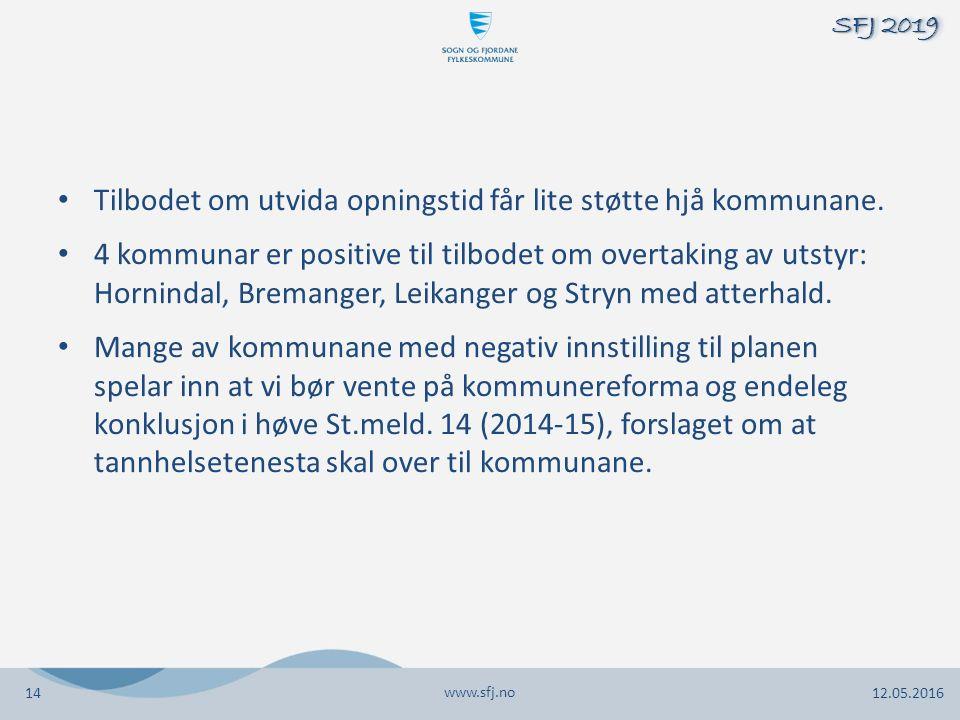 Tilbodet om utvida opningstid får lite støtte hjå kommunane. 4 kommunar er positive til tilbodet om overtaking av utstyr: Hornindal, Bremanger, Leikan