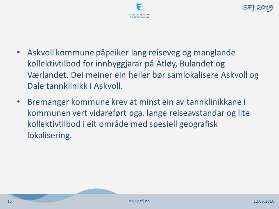 Askvoll kommune påpeiker lang reiseveg og manglande kollektivtilbod for innbyggjarar på Atløy, Bulandet og Værlandet. Dei meiner ein heller bør samlok