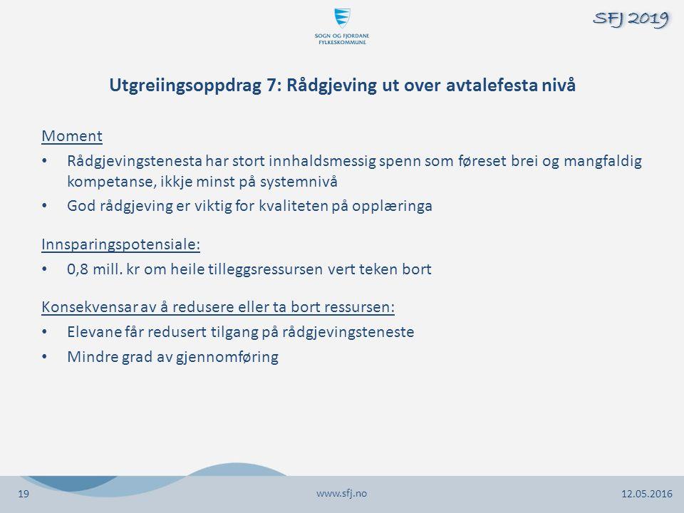 Utgreiingsoppdrag 7: Rådgjeving ut over avtalefesta nivå Moment Rådgjevingstenesta har stort innhaldsmessig spenn som føreset brei og mangfaldig kompe