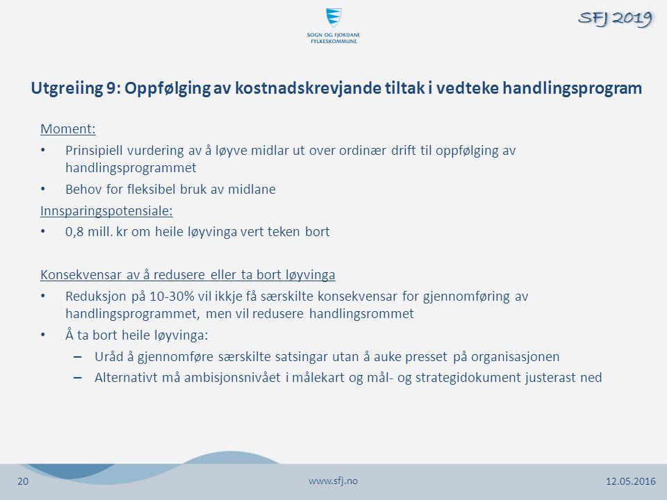 Utgreiing 9: Oppfølging av kostnadskrevjande tiltak i vedteke handlingsprogram Moment: Prinsipiell vurdering av å løyve midlar ut over ordinær drift t
