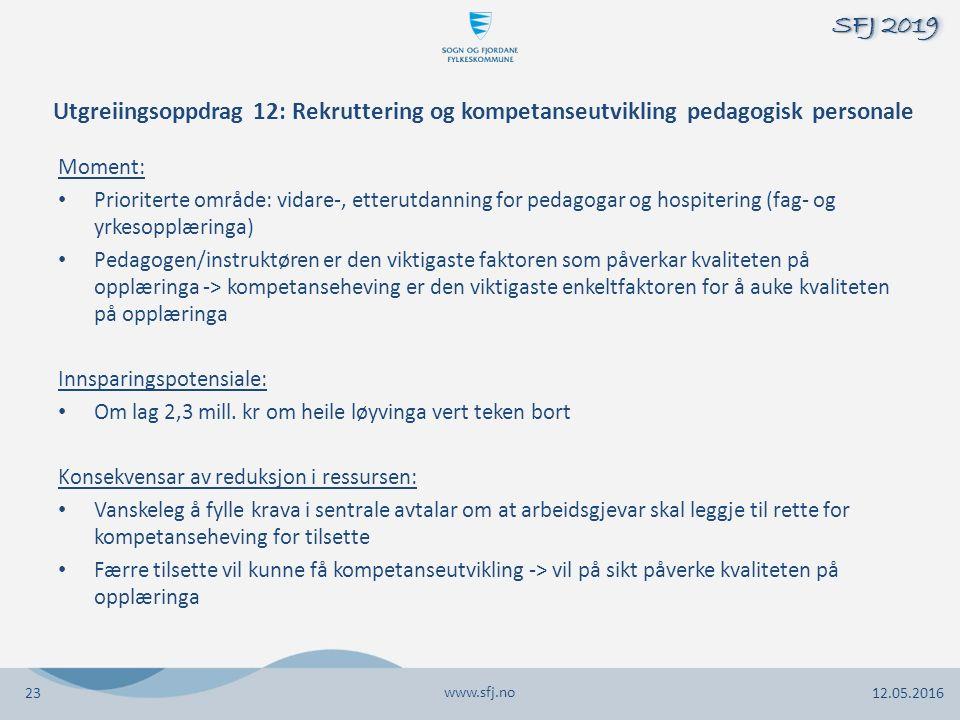 Utgreiingsoppdrag 12: Rekruttering og kompetanseutvikling pedagogisk personale Moment: Prioriterte område: vidare-, etterutdanning for pedagogar og hospitering (fag- og yrkesopplæringa) Pedagogen/instruktøren er den viktigaste faktoren som påverkar kvaliteten på opplæringa -> kompetanseheving er den viktigaste enkeltfaktoren for å auke kvaliteten på opplæringa Innsparingspotensiale: Om lag 2,3 mill.