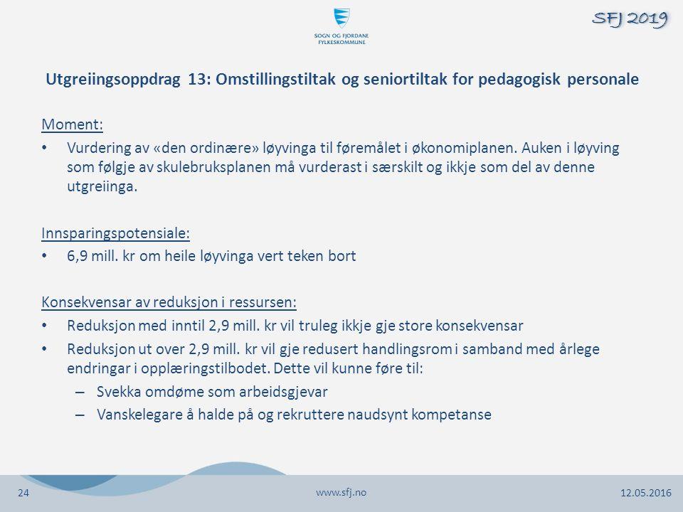 Utgreiingsoppdrag 13: Omstillingstiltak og seniortiltak for pedagogisk personale Moment: Vurdering av «den ordinære» løyvinga til føremålet i økonomiplanen.