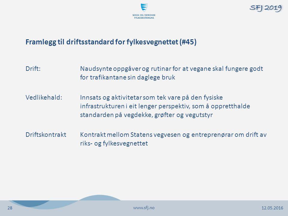 Framlegg til driftsstandard for fylkesvegnettet (#45) Drift:Naudsynte oppgåver og rutinar for at vegane skal fungere godt for trafikantane sin daglege