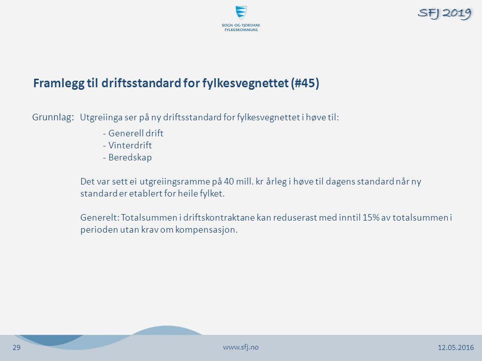 Framlegg til driftsstandard for fylkesvegnettet (#45) Grunnlag: Utgreiinga ser på ny driftsstandard for fylkesvegnettet i høve til: - Generell drift - Vinterdrift - Beredskap Det var sett ei utgreiingsramme på 40 mill.