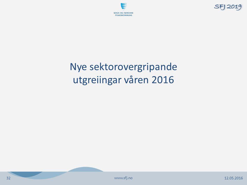 Nye sektorovergripande utgreiingar våren 2016 www.sfj.no 12.05.2016 SFJ 2019 32