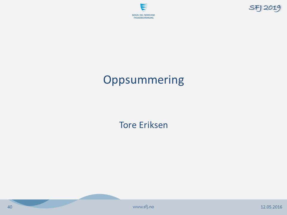 Oppsummering Tore Eriksen www.sfj.no 12.05.2016 SFJ 2019 40