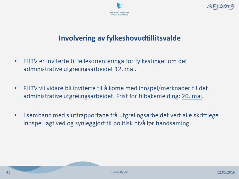 Involvering av fylkeshovudtillitsvalde FHTV er inviterte til fellesorienteringa for fylkestinget om det administrative utgreiingsarbeidet 12.