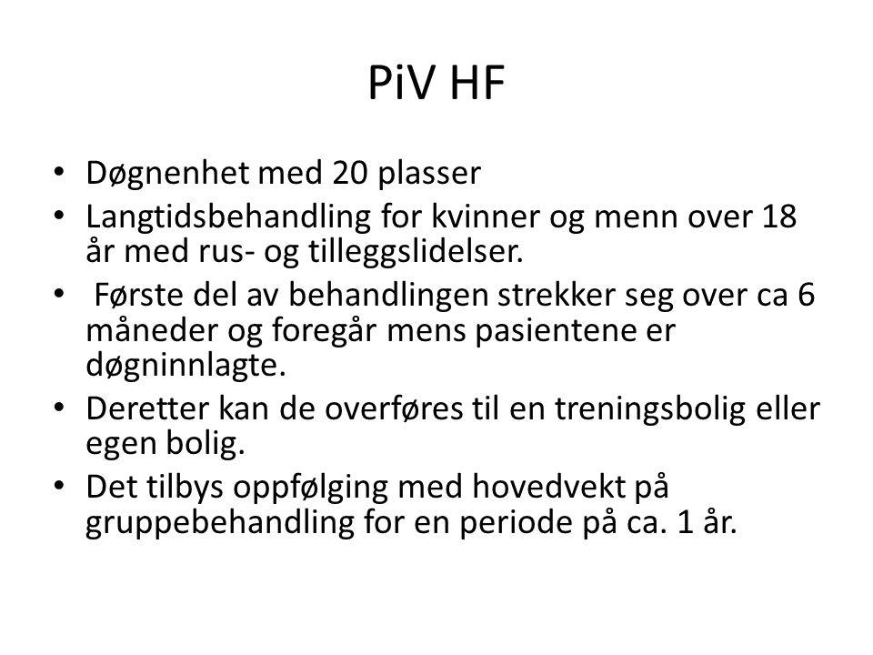 PiV HF Døgnenhet med 20 plasser Langtidsbehandling for kvinner og menn over 18 år med rus- og tilleggslidelser. Første del av behandlingen strekker se