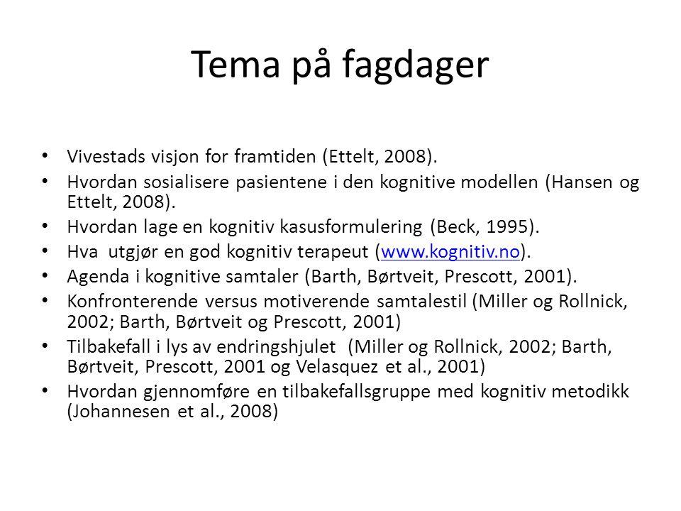 Tema på fagdager Vivestads visjon for framtiden (Ettelt, 2008). Hvordan sosialisere pasientene i den kognitive modellen (Hansen og Ettelt, 2008). Hvor