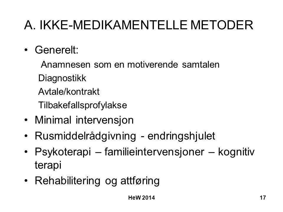 A. IKKE-MEDIKAMENTELLE METODER Generelt: Anamnesen som en motiverende samtalen Diagnostikk Avtale/kontrakt Tilbakefallsprofylakse Minimal intervensjon