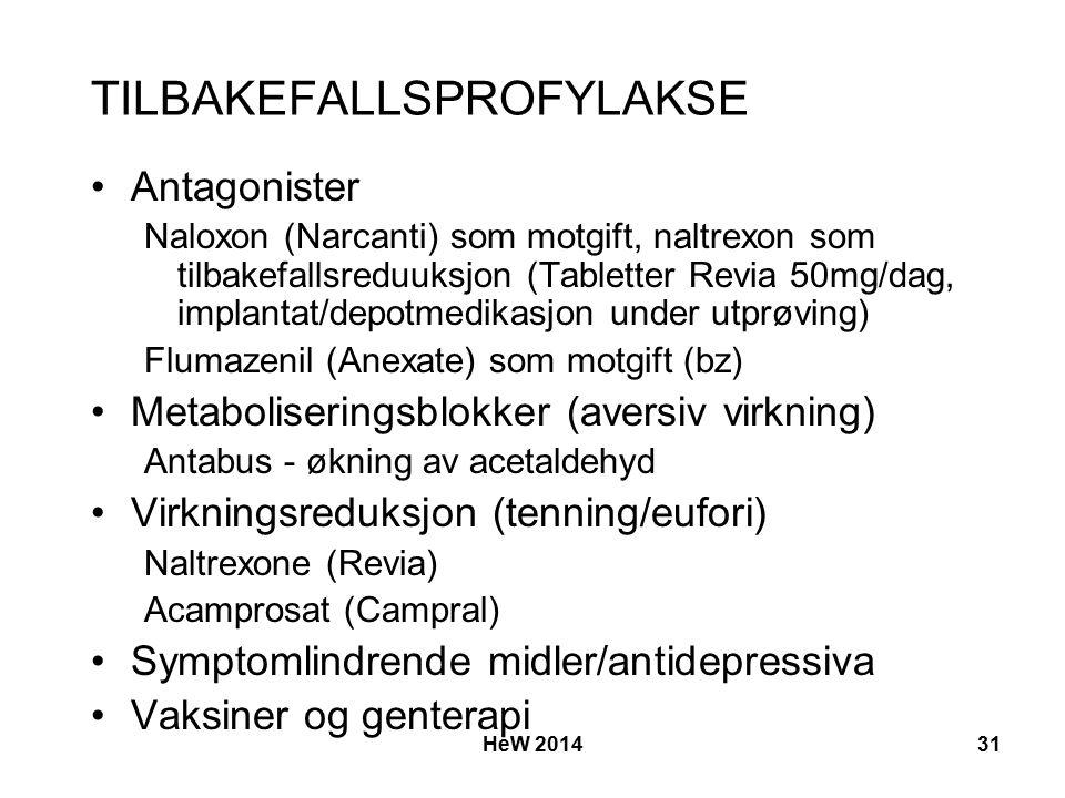 TILBAKEFALLSPROFYLAKSE Antagonister Naloxon (Narcanti) som motgift, naltrexon som tilbakefallsreduuksjon (Tabletter Revia 50mg/dag, implantat/depotmedikasjon under utprøving) Flumazenil (Anexate) som motgift (bz) Metaboliseringsblokker (aversiv virkning) Antabus - økning av acetaldehyd Virkningsreduksjon (tenning/eufori) Naltrexone (Revia) Acamprosat (Campral) Symptomlindrende midler/antidepressiva Vaksiner og genterapi HeW 201431