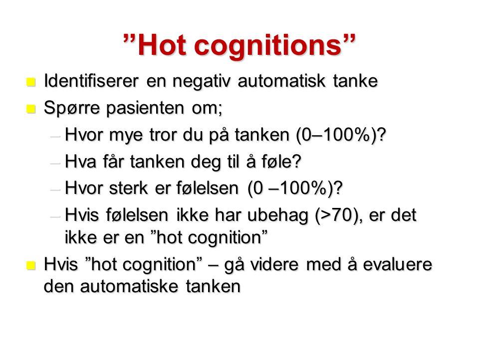 Hot cognitions Identifiserer en negativ automatisk tanke Identifiserer en negativ automatisk tanke Spørre pasienten om; Spørre pasienten om; –Hvor mye tror du på tanken (0–100%).