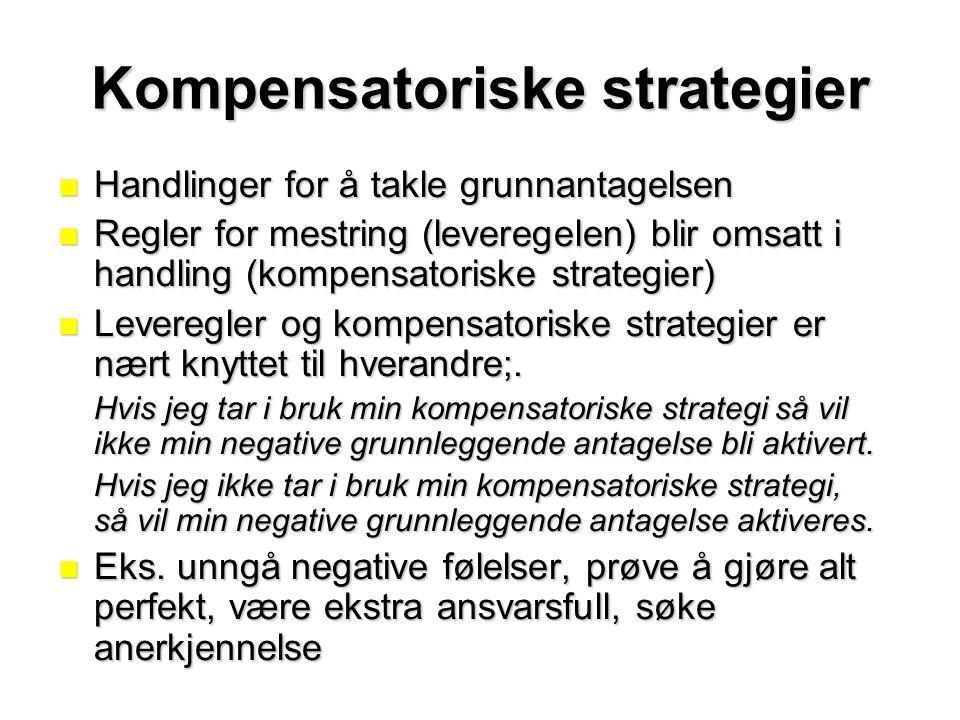 Kompensatoriske strategier Handlinger for å takle grunnantagelsen Handlinger for å takle grunnantagelsen Regler for mestring (leveregelen) blir omsatt i handling (kompensatoriske strategier) Regler for mestring (leveregelen) blir omsatt i handling (kompensatoriske strategier) Leveregler og kompensatoriske strategier er nært knyttet til hverandre;.