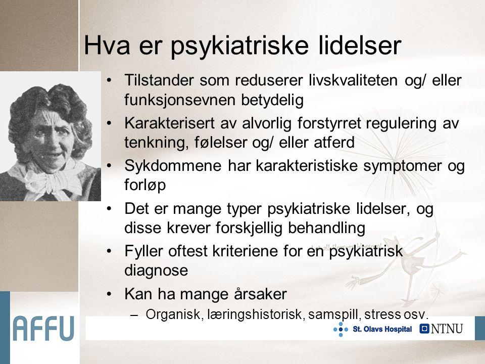 Typer lidelser F0 - Organiske psykiske lidelser, dvs.
