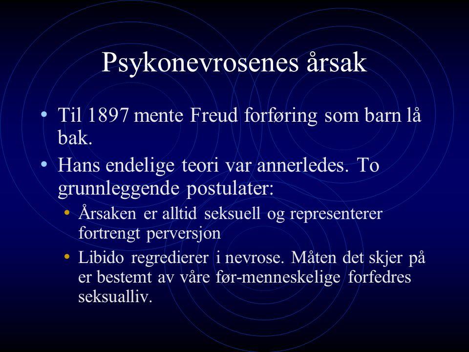 Psykonevrosenes årsak Til 1897 mente Freud forføring som barn lå bak.