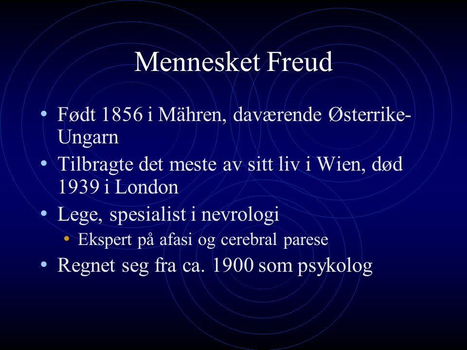 Aktualnevroser og psykonevroser Freud skilte tidlig mellom to grupper nevroser: Aktualnevroser og psykonevroser Aktualnevroser To typer: Nevrasteni og angst Skyldes nåtidig abnormal seksuell praksis, som onani og avbrutt samleie.