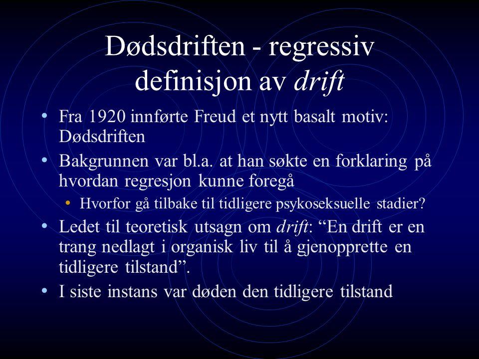 Dødsdriften - regressiv definisjon av drift Fra 1920 innførte Freud et nytt basalt motiv: Dødsdriften Bakgrunnen var bl.a.