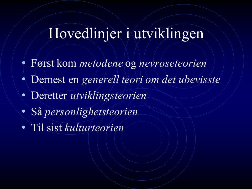 Hovedlinjer i utviklingen Først kom metodene og nevroseteorien Dernest en generell teori om det ubevisste Deretter utviklingsteorien Så personlighetsteorien Til sist kulturteorien