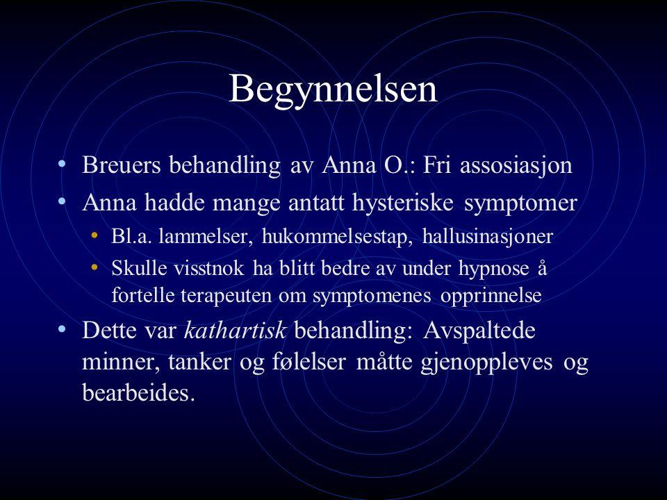 Begynnelsen Breuers behandling av Anna O.: Fri assosiasjon Anna hadde mange antatt hysteriske symptomer Bl.a.