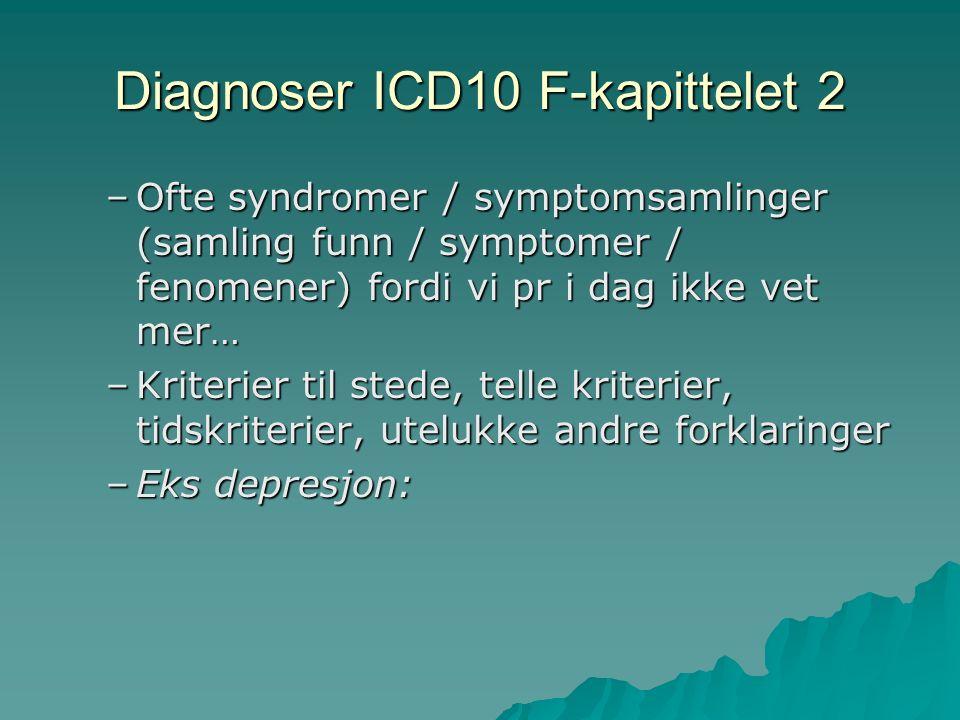 Diagnoser ICD10 F-kapittelet 2 –Ofte syndromer / symptomsamlinger (samling funn / symptomer / fenomener) fordi vi pr i dag ikke vet mer… –Kriterier til stede, telle kriterier, tidskriterier, utelukke andre forklaringer –Eks depresjon: