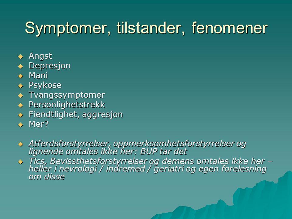  Angst  Depresjon  Mani  Psykose  Tvangssymptomer  Personlighetstrekk  Fiendtlighet, aggresjon  Mer.