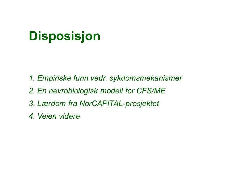 1. Empiriske funn vedr. sykdomsmekanismer 2. En nevrobiologisk modell for CFS/ME Disposisjon 3.