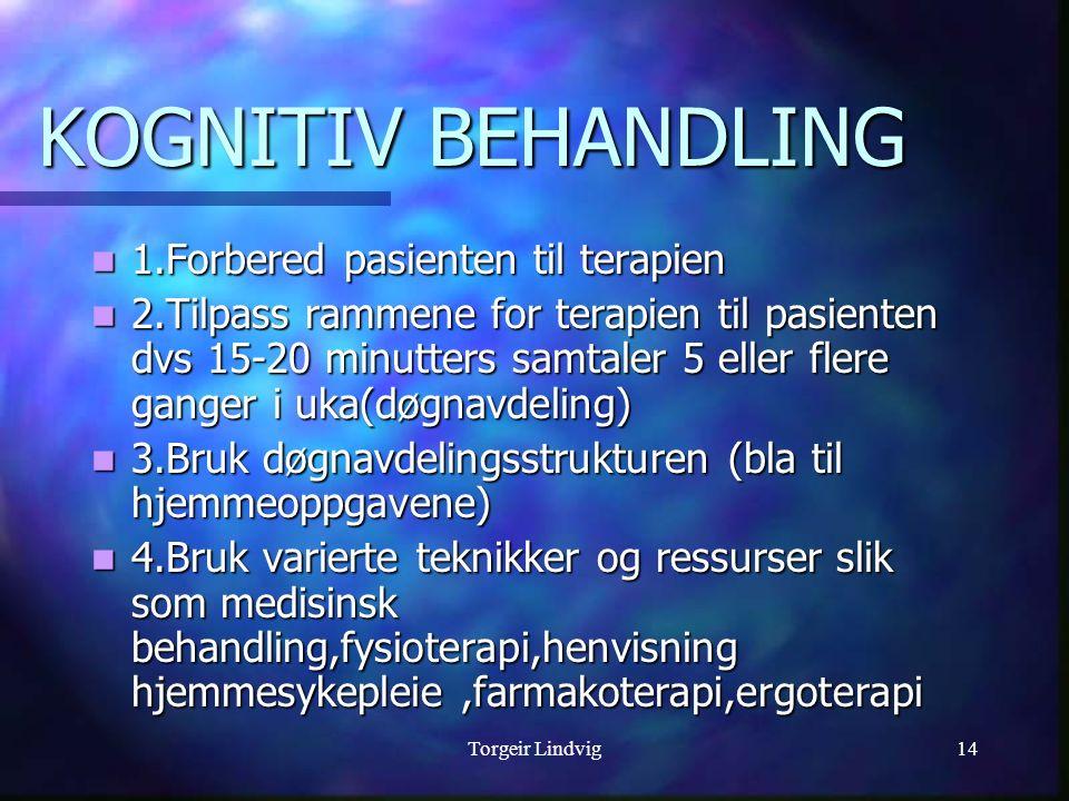 Torgeir Lindvig14 1.Forbered pasienten til terapien 1.Forbered pasienten til terapien 2.Tilpass rammene for terapien til pasienten dvs 15-20 minutters