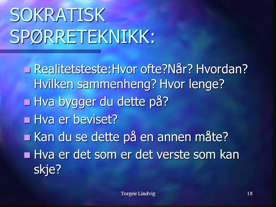 Torgeir Lindvig18 SOKRATISK SPØRRETEKNIKK: Realitetsteste:Hvor ofte?Når? Hvordan? Hvilken sammenheng? Hvor lenge? Realitetsteste:Hvor ofte?Når? Hvorda