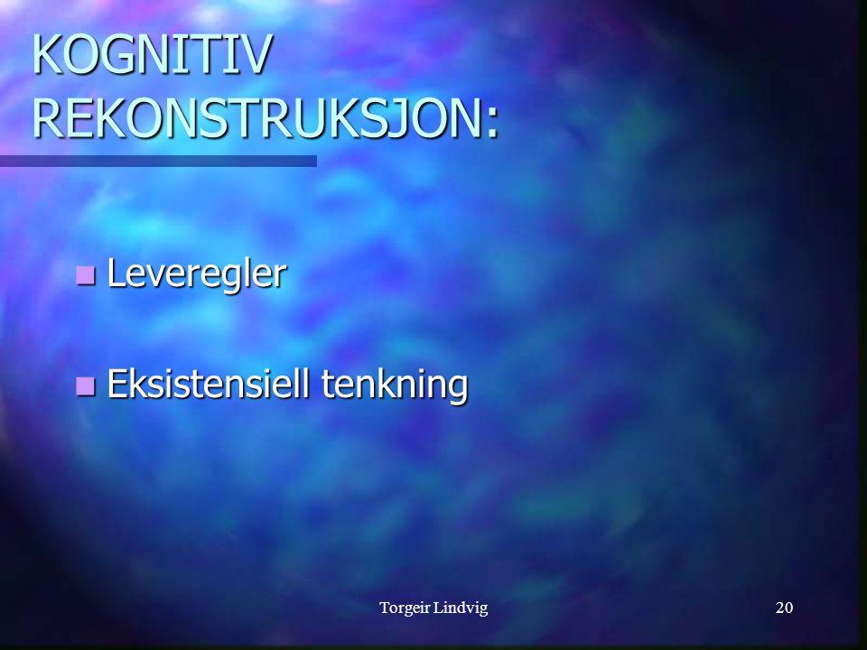 Torgeir Lindvig20 KOGNITIV REKONSTRUKSJON: Leveregler Leveregler Eksistensiell tenkning Eksistensiell tenkning