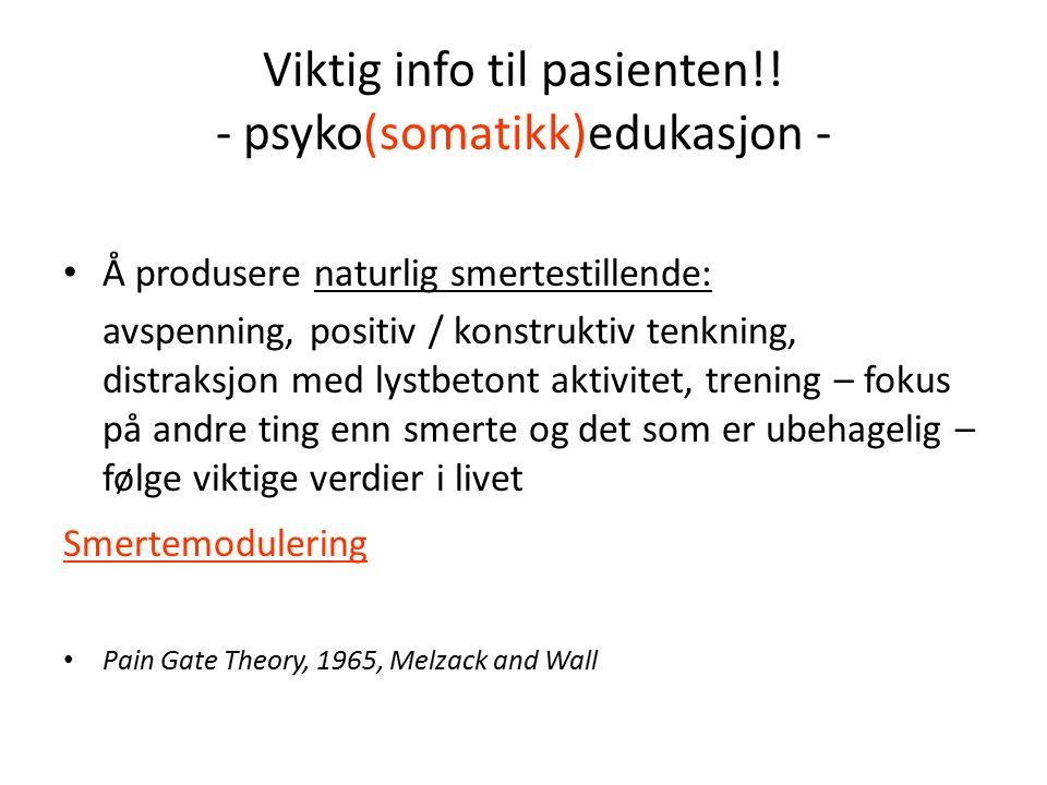 Viktig info til pasienten!.