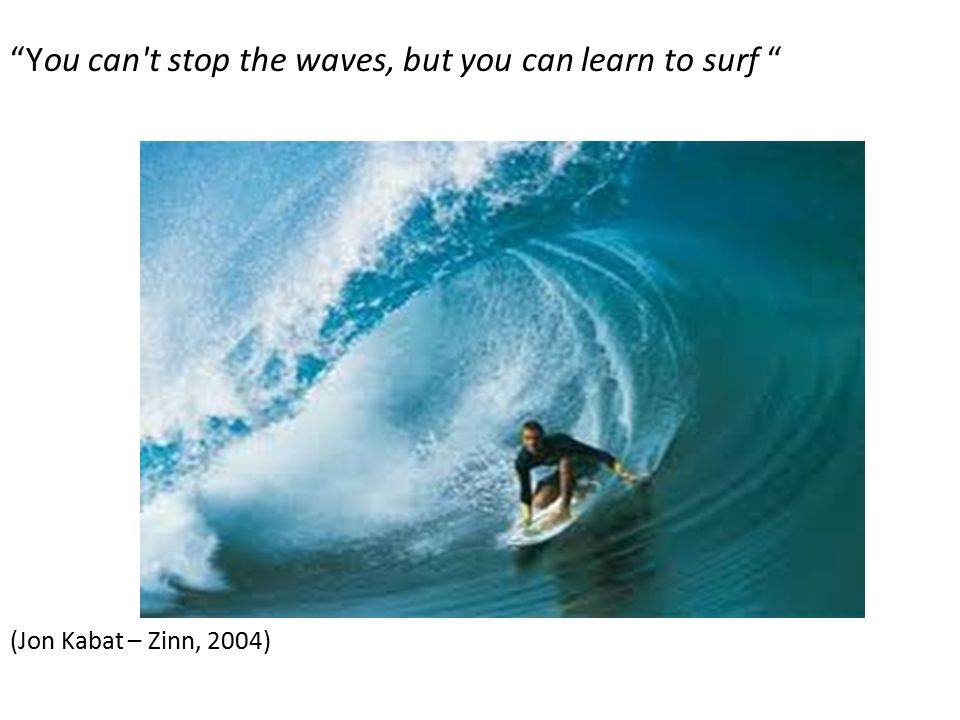 You can t stop the waves, but you can learn to surf (Jon Kabat – Zinn, 2004)