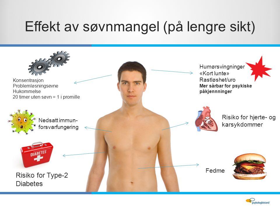 Effekt av søvnmangel (på lengre sikt) Humørsvingninger «Kort lunte» Rastløshet/uro Mer sårbar for psykiske påkjennninger Risiko for Type-2 Diabetes Risiko for hjerte- og karsykdommer Fedme Nedsatt immun- forsvarfungering Konsentrasjon Problemløsningsevne Hukommelse 20 timer uten søvn = 1 i promille