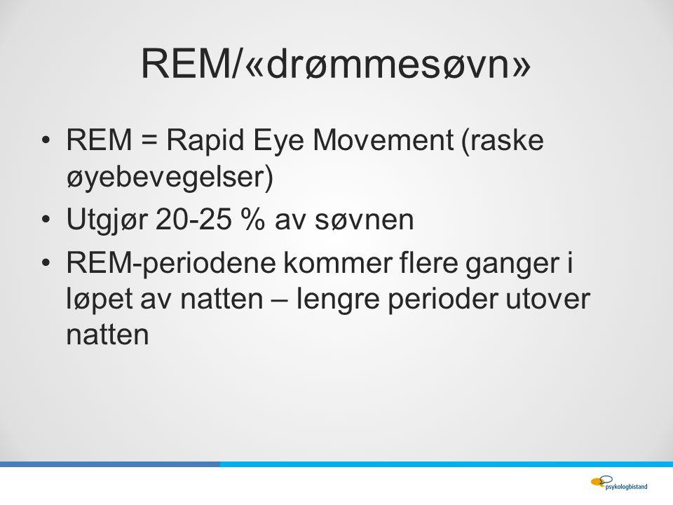 REM/«drømmesøvn» REM = Rapid Eye Movement (raske øyebevegelser) Utgjør 20-25 % av søvnen REM-periodene kommer flere ganger i løpet av natten – lengre perioder utover natten