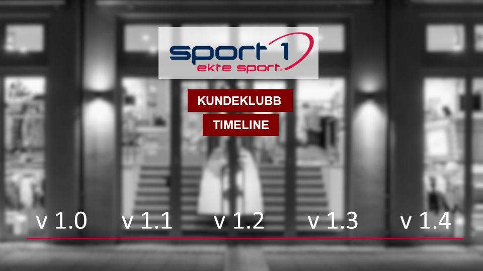 TIMELINE v 1.0v 1.1v 1.2v 1.3v 1.4 KUNDEKLUBB