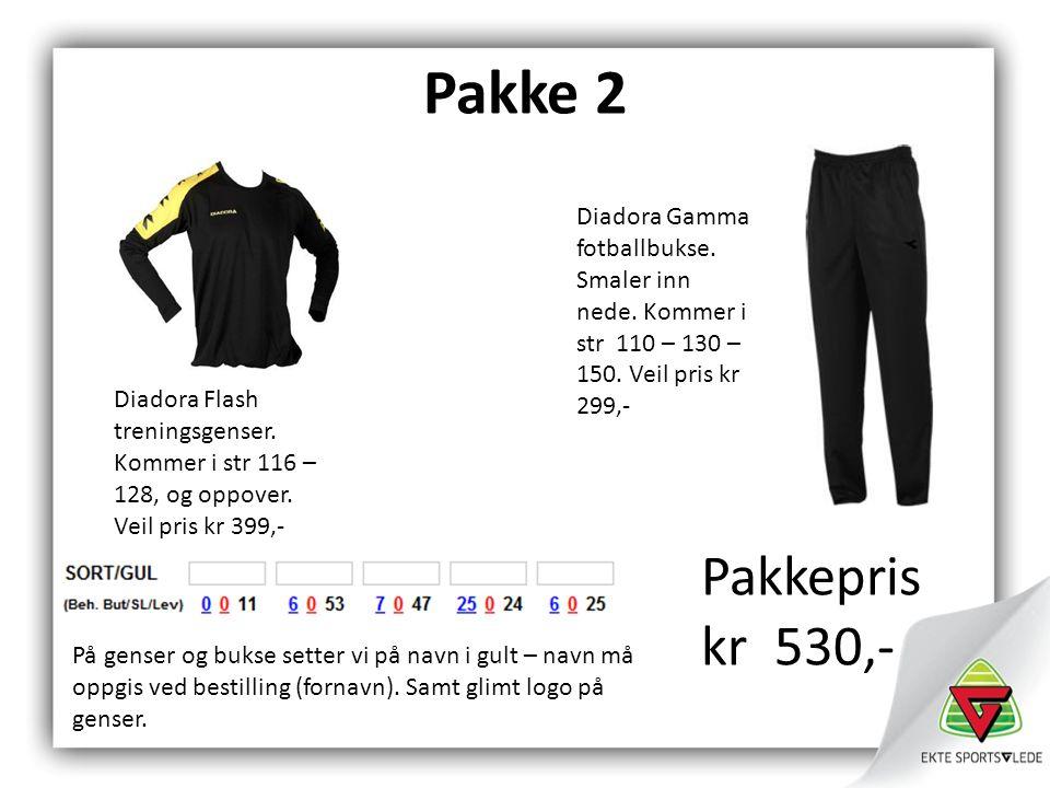 Pakke 2 Diadora Flash treningsgenser. Kommer i str 116 – 128, og oppover.
