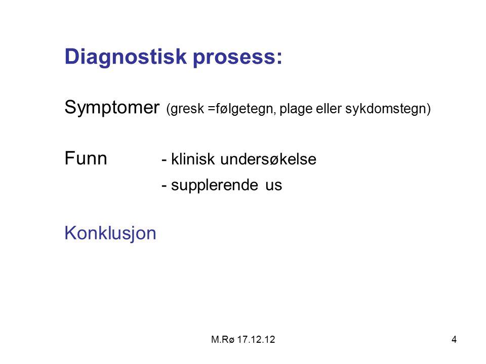 M.Rø 17.12.124 Diagnostisk prosess: Symptomer (gresk =følgetegn, plage eller sykdomstegn) Funn - klinisk undersøkelse - supplerende us Konklusjon