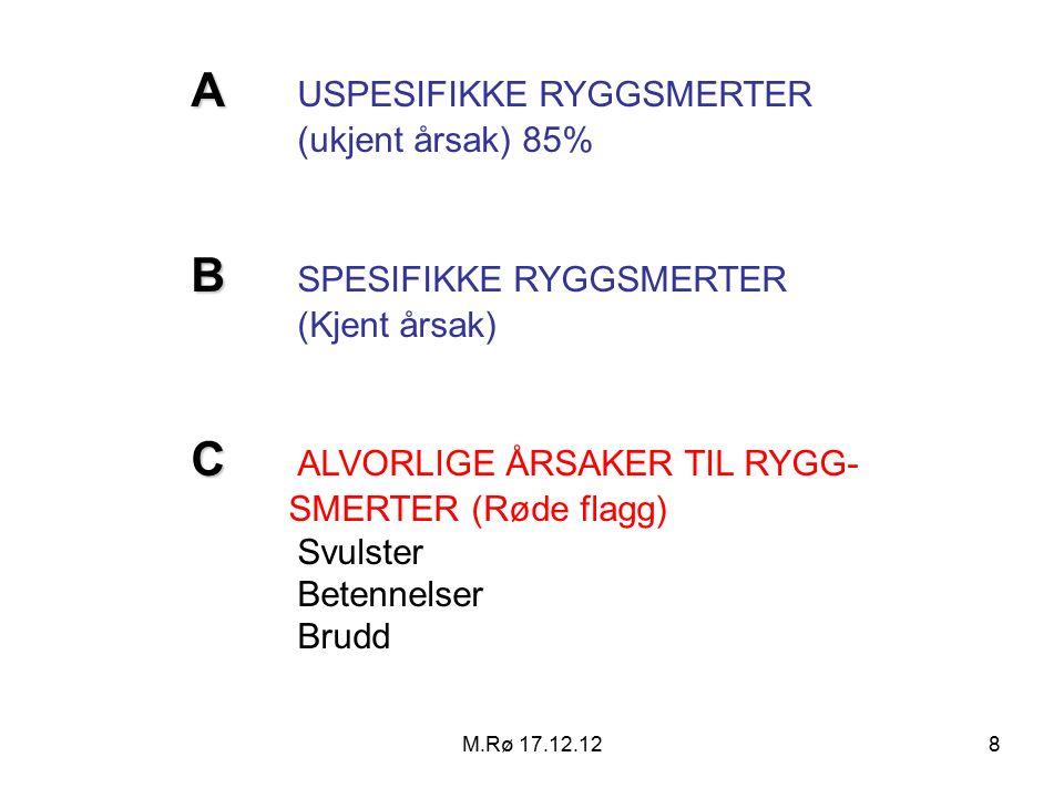M.Rø 17.12.129 Mulige hypoteser ved lenderyggsmerter (=low back pain) Anatomisk-lokaliserte Bevegelsesegment (Skive, muskel, bueledd) Bekken Hofte Abdominelle organer Patofysiologisk-multifokale Idiopatisk (genetisk) rygg.