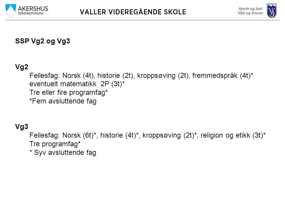 SSP Vg2 og Vg3 Vg2 Fellesfag: Norsk (4t), historie (2t), kroppsøving (2t), fremmedspråk (4t)* eventuelt matematikk 2P (3t)* Tre eller fire programfag* *Fem avsluttende fag Vg3 Fellesfag: Norsk (6t)*, historie (4t)*, kroppsøving (2t)*, religion og etikk (3t)* Tre programfag* * Syv avsluttende fag