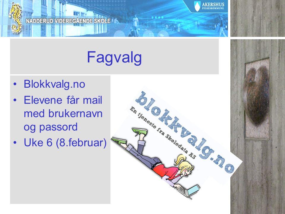 Fagvalg Blokkvalg.no Elevene får mail med brukernavn og passord Uke 6 (8.februar)