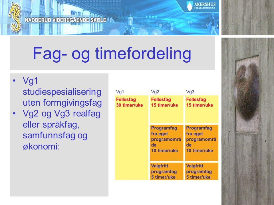 Fag- og timefordeling Vg1 studiespesialisering uten formgivingsfag Vg2 og Vg3 realfag eller språkfag, samfunnsfag og økonomi: