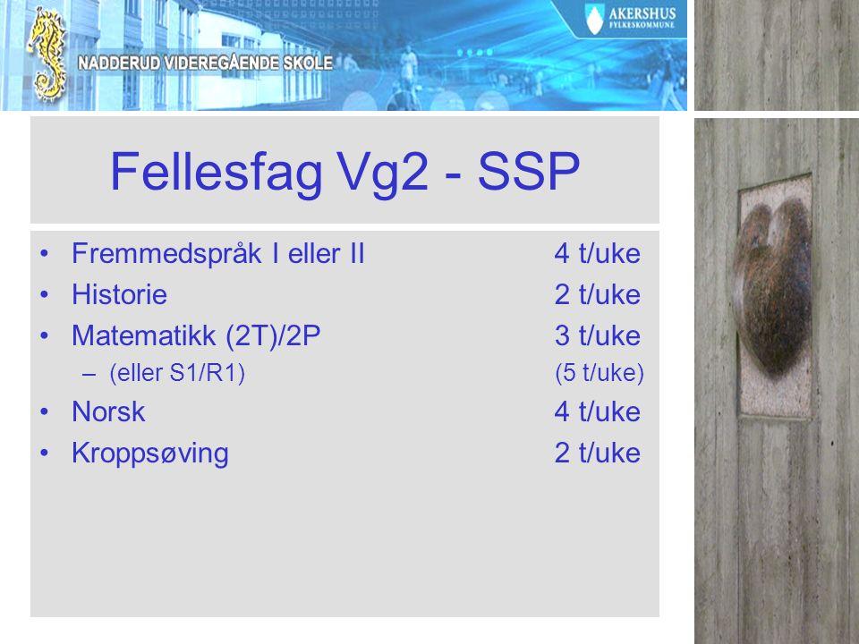 Fellesfag Vg2 - SSP Fremmedspråk I eller II4 t/uke Historie2 t/uke Matematikk (2T)/2P 3 t/uke –(eller S1/R1)(5 t/uke) Norsk4 t/uke Kroppsøving2 t/uke