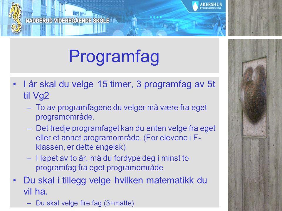 Programfag I år skal du velge 15 timer, 3 programfag av 5t til Vg2 –To av programfagene du velger må være fra eget programområde.
