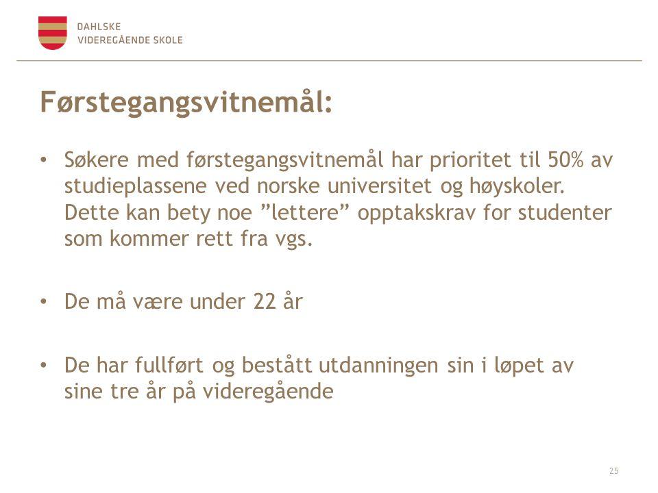 Førstegangsvitnemål: Søkere med førstegangsvitnemål har prioritet til 50% av studieplassene ved norske universitet og høyskoler.